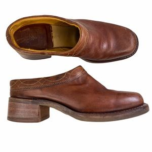 Frye Brown Leather Mules Slip On Shoes